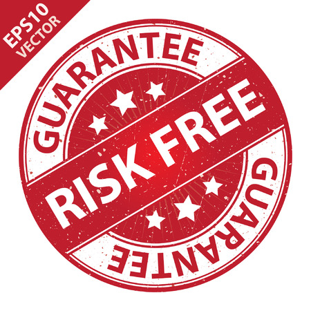 assure: Vector : Quality Management Systems, Quality Assurance and Quality Control Concept Present By Risk Free Label on Red Grunge Glossy Style Icon With Guarantee Text Around Isolated on White Background Illustration