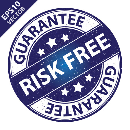 risk free: Vector : Quality Management Systems, Quality Assurance and Quality Control Concept Present By Risk Free Label on Blue Grunge Glossy Style Icon With Guarantee Text Around Isolated on White Background