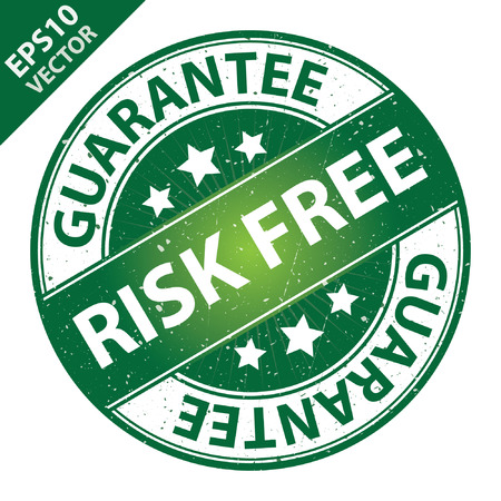 risk free: Vector : Quality Management Systems, Quality Assurance and Quality Control Concept Present By Risk Free Label on Green Grunge Glossy Style Icon With Guarantee Text Around Isolated on White Background