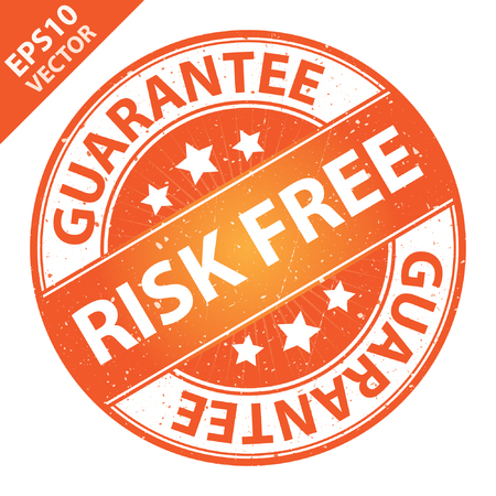 risk free: Vector : Quality Management Systems, Quality Assurance and Quality Control Concept Present By Risk Free Label on Orange Grunge Glossy Style Icon With Guarantee Text Around Isolated on White Background