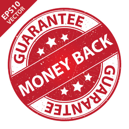 quality assurance: Vector : Quality Management Systems, Quality Assurance and Quality Control Concept Present By Money Back Label on Red Grunge Glossy Style Icon With Guarantee Text Around Isolated on White Background Illustration