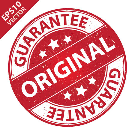 quality assurance: Vector : Quality Management Systems, Quality Assurance and Quality Control Concept Present By Original Label on Red Grunge Glossy Style Icon With Guarantee Text Around Isolated on White Background