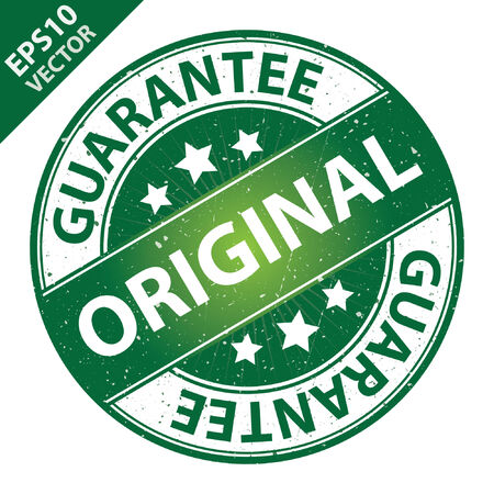 quality assurance: Vector : Quality Management Systems, Quality Assurance and Quality Control Concept Present By Original Label on Green Grunge Glossy Style Icon With Guarantee Text Around Isolated on White Background Illustration