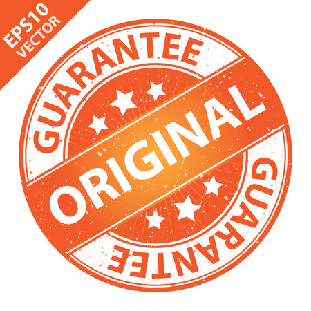 quality assurance: Vector : Quality Management Systems, Quality Assurance and Quality Control Concept Present By Original Label on Orange Grunge Glossy Style Icon With Guarantee Text Around Isolated on White Background