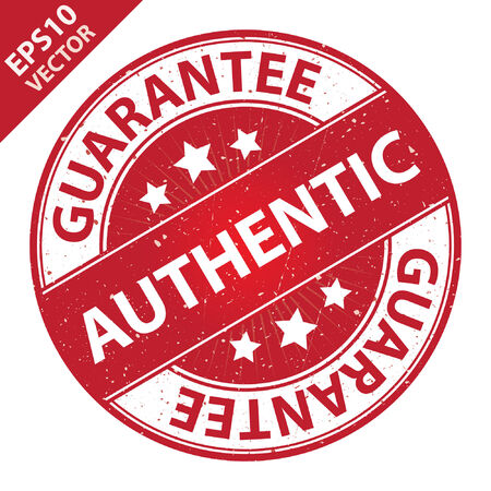 Vector : Quality Management Systems, Quality Assurance and Quality Control Concept Present By Authentic Label on Red Grunge Glossy Style Icon With Guarantee Text Around Isolated on White Background Vettoriali