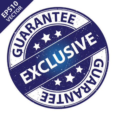 quality assurance: Vector : Quality Management Systems, Quality Assurance and Quality Control Concept Present By Exclusive Label on Blue Grunge Glossy Style Icon With Guarantee Text Around Isolated on White Background