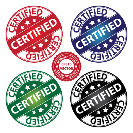 quality assurance: Vector : Quality Management Systems, Quality Assurance and Quality Control Concept Present By Certified Label on Colorful Circle Glossy Icon With Certified Text Around Isolated on White Background