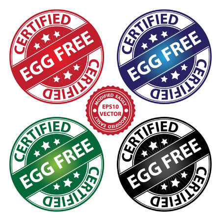 quality assurance: Vector : Quality Management Systems, Quality Assurance and Quality Control Concept Present By Egg Free Label on Colorful Circle Glossy Icon With Certified Text Around Isolated on White Background