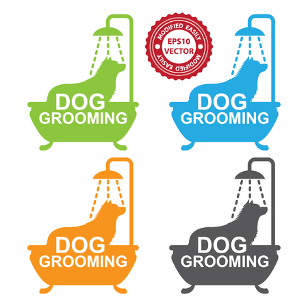 dog grooming: Vector : Graphic For Pet Business Present by Colorful Dog Grooming Sign With Dog Shower in The Bathtub Isolated On White Background