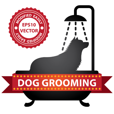 Vector : Graphic For Pet Business Present by Black Glossy Style Dog Shower in The Bathtub Sign With Dog Grooming Ribbon Isolated On White Background Vector