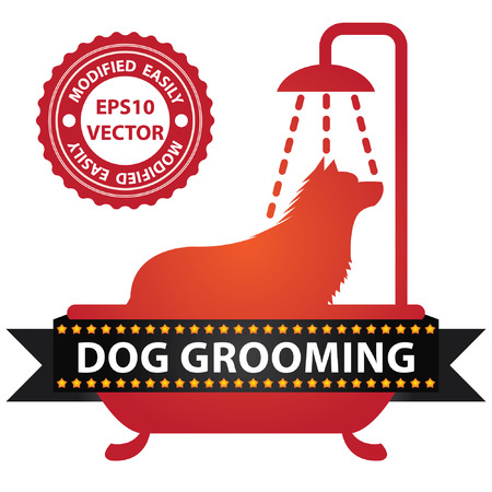 Vector : Graphic For Pet Business Present by Red Glossy Style Dog Shower in The Bathtub Sign With Dog Grooming Ribbon Isolated On White Background