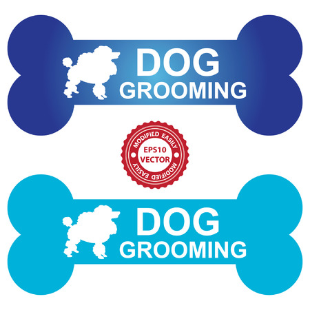 Vector : Graphic For Pet Business Present by Blue Dog Grooming Sign With Poodle Dog Sign Isolated On White Background Vector