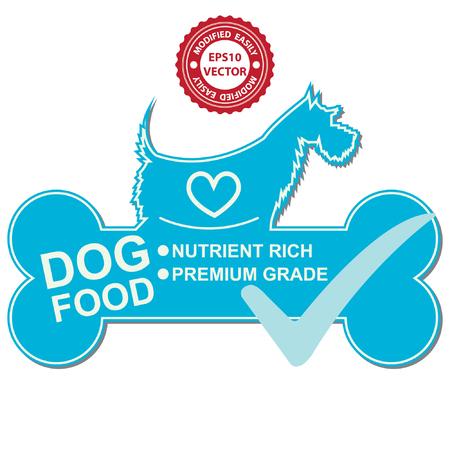 kumpel: Vector: Grafik f�r Haustier Gesch�fts Gegenwart von Hundefutter Text, N�hrstoffreiche und Premium-on Blue Dog Food Zeichen mit H�kchen auf wei�en Hintergrund