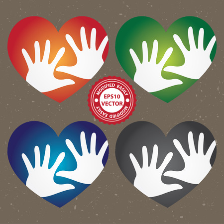 Vector : Volunteer, Charity or Donation Concept Present By Colorful Heart With White Hand Inside in Grunge Background Illustration