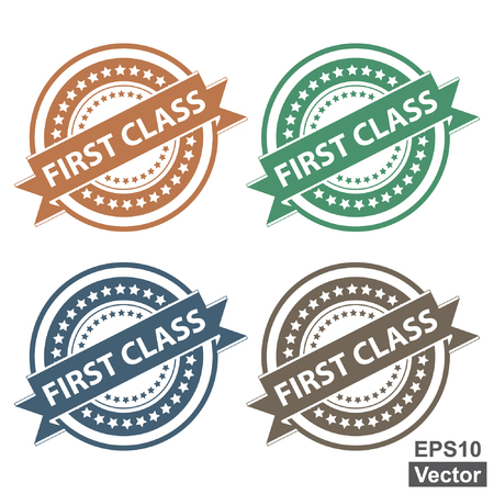 first class: Vector : Tag, Sticker, Label or Badge For Product Certification or Product Verification Present By Colorful First Class Ribbon on Colorful Icon Isolated on White Background
