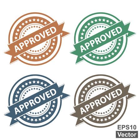 zertifizierung: Vector: Tag, Aufkleber, Etiketten oder Abzeichen f�r die Produktzertifizierung oder Pr�fung der Produkte Gegenwart von bunten Genehmigt Ribbon auf Colorful Symbol auf wei�em Hintergrund isoliert