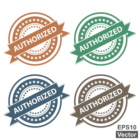 verification: Vector : Tag, Sticker, Label or Badge For Product Certification or Product Verification Present By Colorful Authorized Ribbon on Colorful Icon Isolated on White Background Illustration
