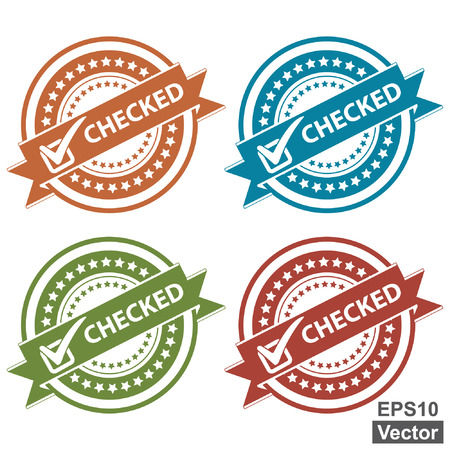 acception: Vector : Tag, Sticker, Label or Badge For Product Certification or Product Verification Present By Colorful Checked Ribbon With Check Mark Sign on Colorful Icon Isolated on White Background Illustration