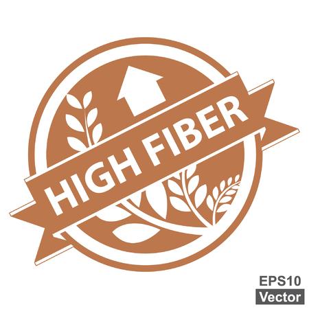 product healthy: Vector: Brown Tag, Sticker, Label o badge per prodotto sano o Informazioni sul prodotto presenti Nastro alta fibra con la coltura, cereali o grano segno isolato su sfondo bianco