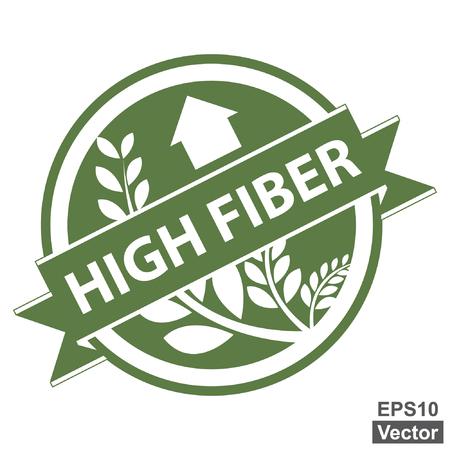 product healthy: Vector: verde Tag, Sticker, Label o badge per prodotto sano o Informazioni sul prodotto presenti Nastro alta fibra con la coltura, cereali o grano segno isolato su sfondo bianco