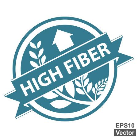 product healthy: Vector: Tag Blu, Sticker, Label o badge per prodotto sano o Informazioni sul prodotto presenti Nastro alta fibra con la coltura, cereali o grano segno isolato su sfondo bianco