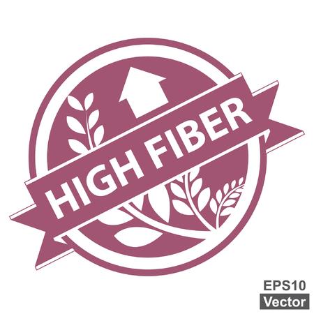product healthy: Vector: Viola Tag, Sticker, Label o badge per prodotto sano o Informazioni sul prodotto presenti Nastro alta fibra con la coltura, cereali o grano segno isolato su sfondo bianco