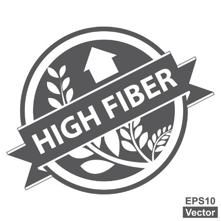 product healthy: Vector: Nero Tag, Sticker, Label o badge per prodotto sano o Informazioni sul prodotto presenti Nastro alta fibra con la coltura, cereali o grano segno isolato su sfondo bianco