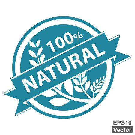 product healthy: Vector: Blu Tag, Sticker, Label o badge per prodotto sano o Informazioni sul prodotto Presente del 100 per cento e nastro naturale con la coltura, cereali o grano segno isolato su sfondo bianco