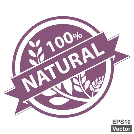 product healthy: Vettore: Viola Tag, autoadesivo, etichetta o badge per prodotto sano o informazioni sul prodotto Presente del 100 per cento e il nastro con la coltura naturale, cereali o grano segno isolato su sfondo bianco Vettoriali