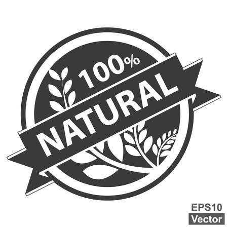 product healthy: Vector: Nero Tag, Sticker, Label o badge per prodotto sano o Informazioni sul prodotto Presente del 100 per cento e nastro naturale con la coltura, cereali o grano segno isolato su sfondo bianco Vettoriali