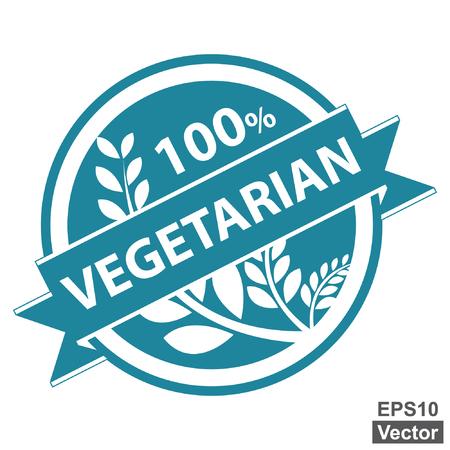 product healthy: Vector: Prodotto sano o Informazioni sul prodotto Presente Per Blue Vintage Style Tag, autoadesivo, etichetta o il badge con 100 Percent testo, Ribbon vegetariana e Crop, cereali o grano Registrati isolati su bianco Vettoriali