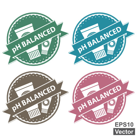 allergenic: Vector : Beauty and Fashion Product Label Present By Colorful Tag, Sticker or Badge With pH Balanced Text and Cosmetic Tube or Containers Sign Isolated on White Background