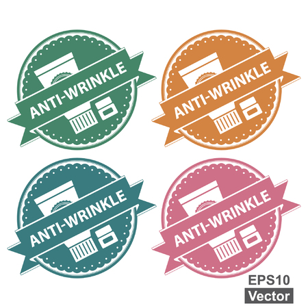 anti age: Vector : Beauty and Fashion Product Label Present By Colorful Tag, Sticker or Badge With Anti-Wrinkle Text and Cosmetic Containers Sign Isolated on White Background Illustration