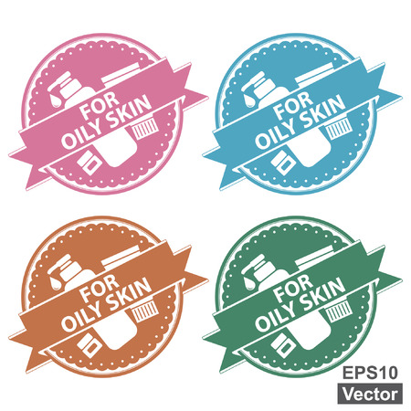 oily: Vector : Beauty and Fashion Product Label Present By Colorful Tag, Sticker or Badge With For Oily Skin Label or Ribbon and Cosmetic Containers Sign Isolated on White Background