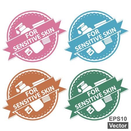 Vector: Schoonheid en Mode Product Label Present Door Kleurrijke Tag, sticker of badge met voor de gevoelige huid Label of Ribbon and Cosmetic Containers teken alleenstaande op een witte achtergrond