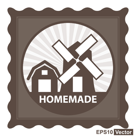 eco notice: Vector : Healthy, Weight Loss, Diet or Fitness Product Present By Brown Stamp Tag, Sticker or Badge With Homemade Text and Vintage Farm Barn Sign Isolated on White Background