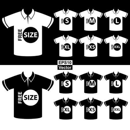 specification: Vector : Product Information or Product Specification Tag, Sticker, Label or Icon Present By Men Black and White Polo Shirt Tag Size Icon Isolated on White Background
