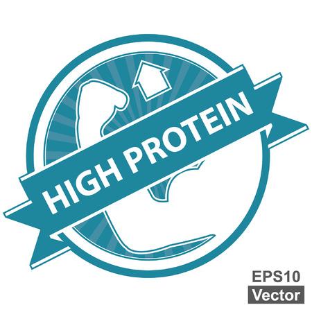 product healthy: Vector: Tag Blu, Sticker, Label o badge per prodotto sano o Informazioni sul prodotto Presente Per High Protein Ribbon Con High Protein segno isolato su sfondo bianco