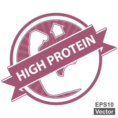 product healthy: Vector: Tag Rosa, Sticker, Label o badge per prodotto sano o Informazioni sul prodotto Presente Per High Protein Ribbon Con High Protein segno isolato su sfondo bianco Vettoriali
