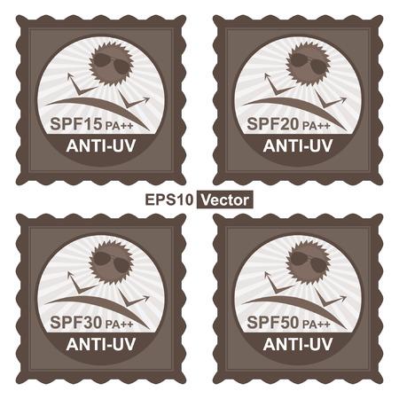 uv: Vector: Belleza, Moda y Salud Concepto Presente por sello de Brown Etiqueta, etiqueta engomada o insignia con SPF15 PA ++ - Texto SPF50 PA ++ anti UV y anti UV signo aislado sobre fondo blanco Vectores