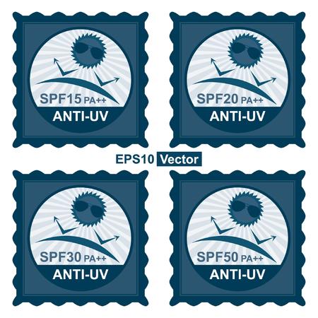 uv: Vector: Belleza, Moda y Salud Concepto Presente por Blue Tag sello, etiqueta o insignia con SPF15 PA ++ - Texto SPF50 PA ++ anti UV y anti UV signo aislado sobre fondo blanco