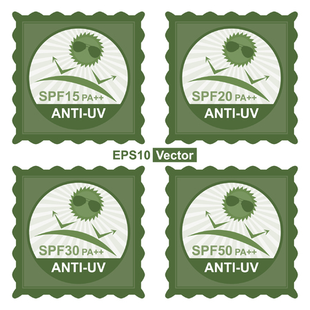 Vector : Beauty, Fashion and Healthcare Concept Present by Green Stamp Tag, Sticker or Badge With SPF15 PA++ - SPF50 PA++ Anti-UV Text and Anti UV Sign Isolated on White Background