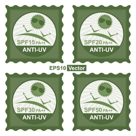 uv: Vector: Belleza, Moda y Salud Concepto Presente por Tag Sello Verde, etiqueta engomada o insignia con SPF15 PA ++ - SPF50 PA ++ texto anti-UV y anti UV signo aislado sobre fondo blanco Vectores