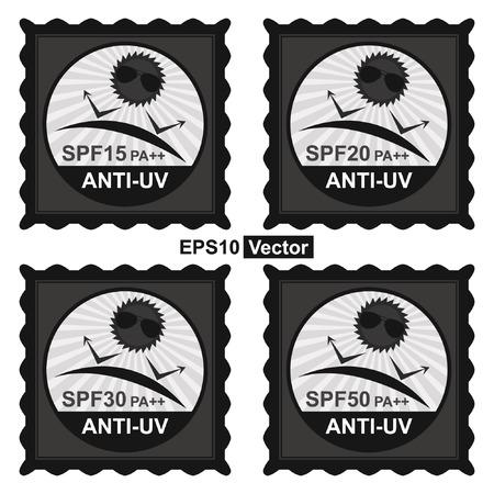 uv: Vector: Belleza, Moda y Salud Concepto Presente por Negro Tag sello, etiqueta o insignia con SPF15 PA ++ - Texto SPF50 PA ++ anti UV y anti UV signo aislado sobre fondo blanco