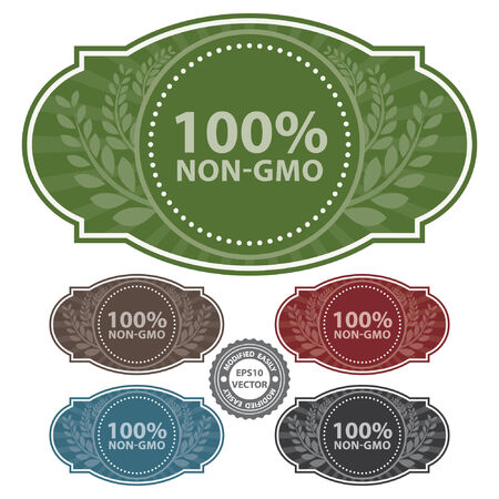 non vegetarian: Vector : Graphic or Marketing Material For Food, Restaurant or Cooking Business Present By Colorful Vintage Style 100 Percent Non-GMO Label or Sign in Brown Background