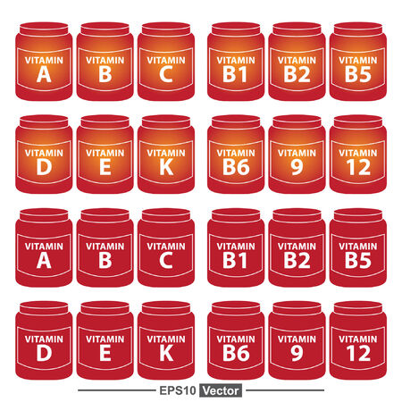 b1: Vector : Healthcare and Medical Concept Present By Group Of Red Vitamin Container or Box With Vitamin A, B, C, D, E, K, B1, B2, B5, B6, B9 and B12 Inside Isolated on White Background
