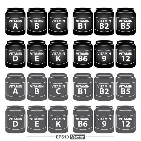 scientific farming: Vector : Healthcare and Medical Concept Present By Group Of Black Vitamin Container or Box With Vitamin A, B, C, D, E, K, B1, B2, B5, B6, B9 and B12 Inside Isolated on White Background