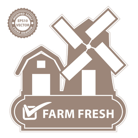 farm fresh: Vector : Marketing Campaign, Promotion or Business Concept Present By Pink Vintage Style Farm, Barn, Windmill and Check Mark Sign With Farm Fresh Label Isolated on White Background Illustration