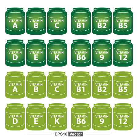 b1: Vector : Healthcare and Medical Concept Present By Group Of Green Vitamin Container or Box With Vitamin A, B, C, D, E, K, B1, B2, B5, B6, B9 and B12 Inside Isolated on White Background