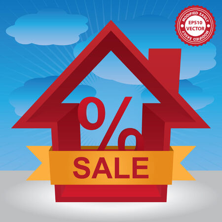 percentage sign: Vector : Graphic For Real Estate Business Present By Red 3D House With Percentage Sign Inside and Yellow Sale Ribbon in Blue Sky Background